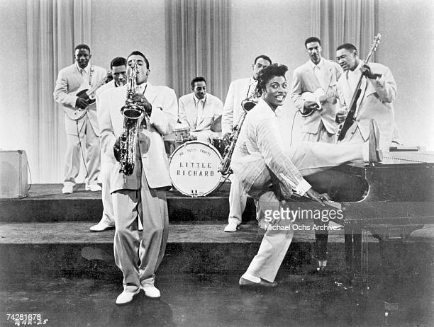 """Musicians Little Richard and his saxophone player Grady Gaines perform in a scene from the movie """"Mister Rock And Roll"""" which was released in 1957."""