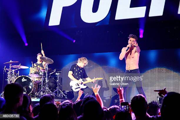 Musicians Louis Vecchio, Soren Hansen, and David Boyd of New Politics perform onstage during day one of the 25th annual KROQ Almost Acoustic...