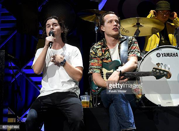 Musicians Lukas Graham Forchhammer and Magnus Larsson of Lukas Graham perform onstage at WiLD 949's FM's Jingle Ball 2016 presented by Capital One at...