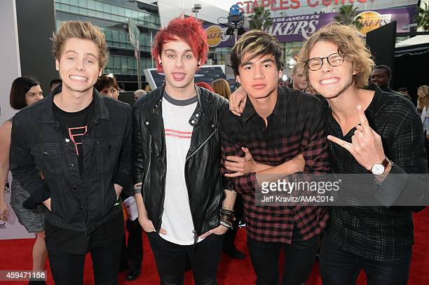 Musicians Luke Hemmings Michael Clifford Calum Hood and Ashton Irwin of 5 Seconds of Summerattend the 2014 American Music Awards at Nokia Theatre LA...