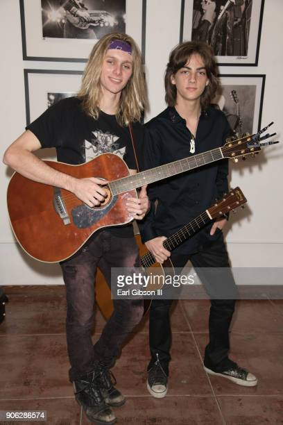 Musicians Lyric Dubee and Jacob Thornton attend the 50th anniversary exhibit of Robert Knight at Mr Musichead Gallery on January 17 2018 in Los...