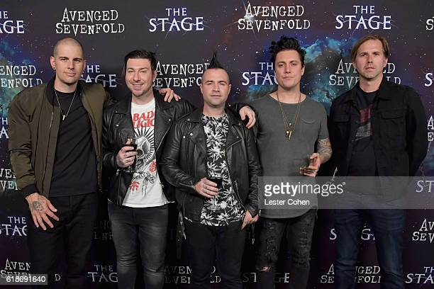 Musicians M Shadows Zacky Vengeance Johnny Christ Zacky Vengeance and Brooks Wackerman of Avenged Sevenfold attend Avenged Sevenfold Groundbreaking...