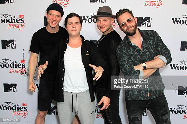 Musicians Magnus Magnum Larsson Lukas Graham Forchhammer Mark Lovestick Falgren and Kasper Daugaard of Lukas Graham attend the 2016 MTV Woodies/10...