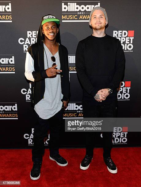 Musicians Malcolm Kelley and Tony Oller of MKTO at Radio Row during the 2015 Billboard Music Awards at MGM Grand Garden Arena on May 16 2015 in Las...