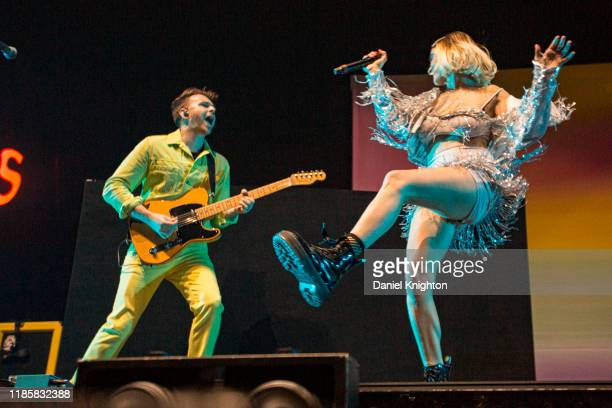 Musicians Marc Campbell and Mandy Lee of Misterwives perform on stage at Pechanga Arena on November 05, 2019 in San Diego, California.