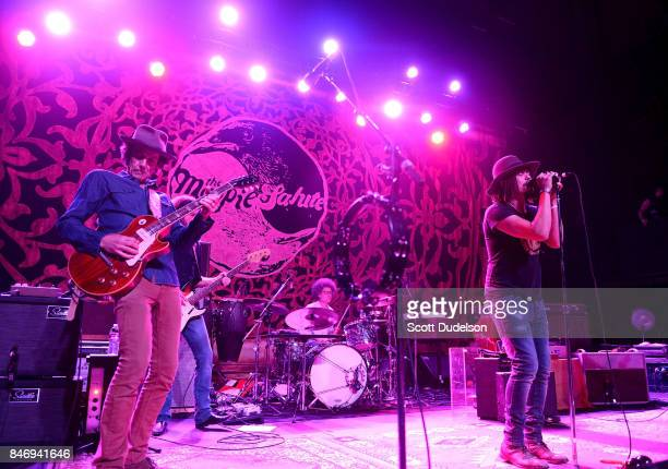 Musicians Marc Ford Sven Pipien Joe Magistro and John Hogg of The Magpie Salute perform onstage at The Fonda Theatre on September 13 2017 in Los...