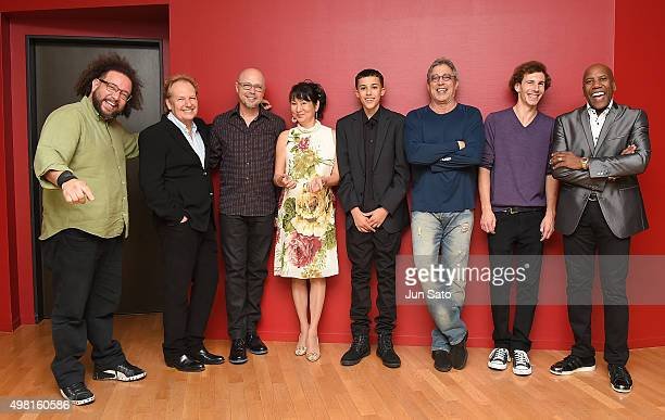 Musicians Marcus Cesar Lee Ritenour John Beasley Hiroko Kokubu Noah East Ivan Lins Wesley Ritenour and Nathan East pose for a photograph during...