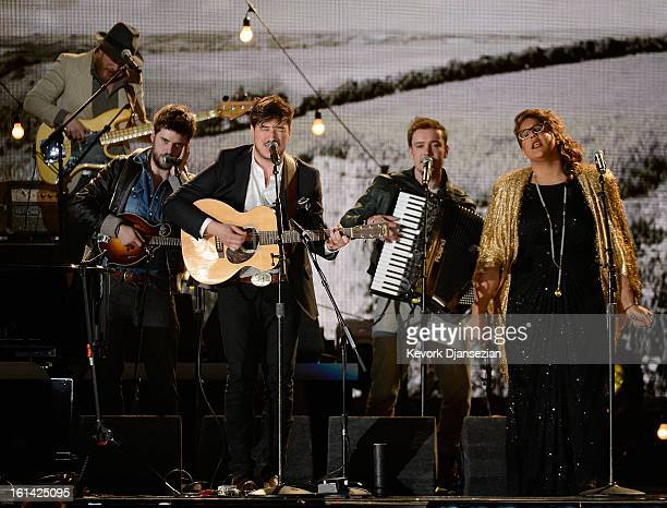 Musicians Marcus Mumford and Brittany Howard perform onstage at the 55th Annual GRAMMY Awards at Staples Center on February 10 2013 in Los Angeles...