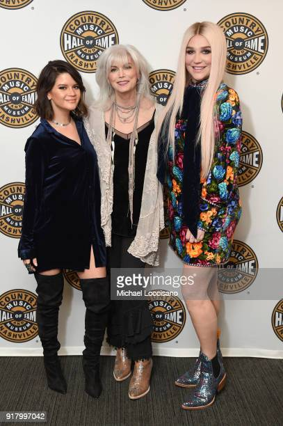 Musicians Maren Morris Emmylou Harris and Kesha attend the Country Music Hall of Fame and Museum's 'All for the Hall' Benefit on February 13 2018 in...