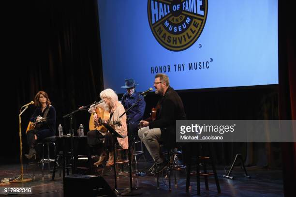 Musicians Maren Morris Emmylou Harris and Vince Gill perform onstage at the Country Music Hall of Fame and Museum's 'All for the Hall' Benefit on...