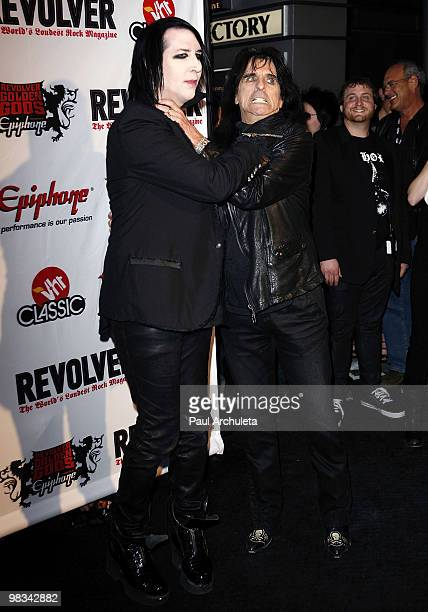 Musicians Marilyn Manson & Alice Cooper arrive at the 2nd annual Revolver Golden Gods Awards at Club Nokia on April 8, 2010 in Los Angeles,...