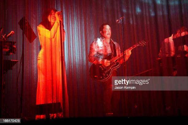 Musicians Mariqueen Maandig Reznor and Trent Reznor of How to Destroy Angels perform onstage during day 1 of the 2013 Coachella Valley Music Arts...