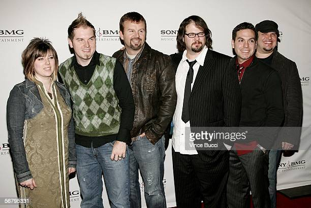 Musicians Mark Hall Juan Devevo Melodee Devevo Chris Hoffman Hector Cervantes and Andy Williams of the group Casting Crowns arrive at the SONY BMG...