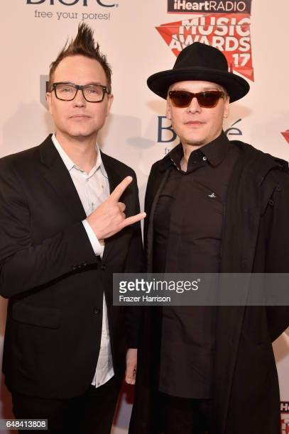 Musicians Mark Hoppus and Matt Skiba of Blink 182 attend the 2017 iHeartRadio Music Awards which broadcast live on Turner's TBS TNT and truTV at The...