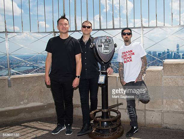 Musicians Mark Hoppus Matt Skiba and Travis Barker of Blink182 visit The Empire State Building to promote their new album California at The Empire...
