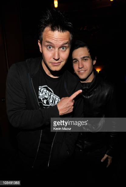 """Musicians Mark Hoppus of Blink 182 and Pete Wentz of Fall Out Boy arrive at the launch of """"DJ Hero"""" hosted by ActiVision held at The Wiltern on June..."""