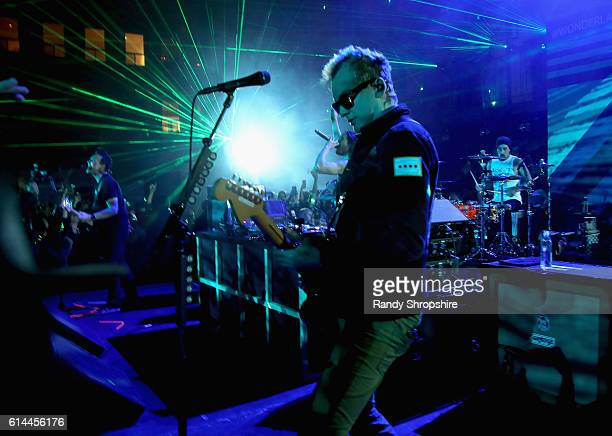 Musicians Mark Hoppus of Blink 182 Steve Aoki Matt Skiba and Travis Barker of Blink 182 perform onstage during MTV's Wonderland LIVE Show on October...