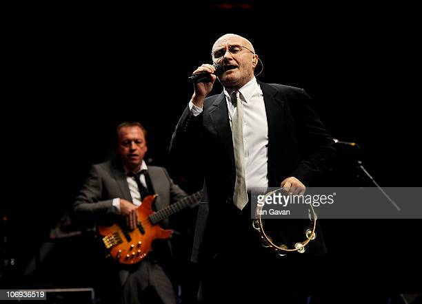 Musicians Mark King and Phil Collins perform at The Prince's Trust Rock Gala 2010 supported by Novae at the Royal Albert Hall on November 17 2010 in...