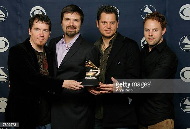 Musicians Mark Lee Mac Powell Tai Anderson and David Carr poses with their Grammy for Best Pop/Contemporary Gospel Album in the press room at the...