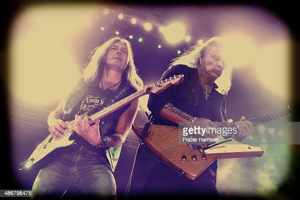 Musicians Mark Matejka and Rickey Medlocke of Lynyrd Skynyrd perform onstage during day 1 of 2014 Stagecoach California's Country Music Festival at...