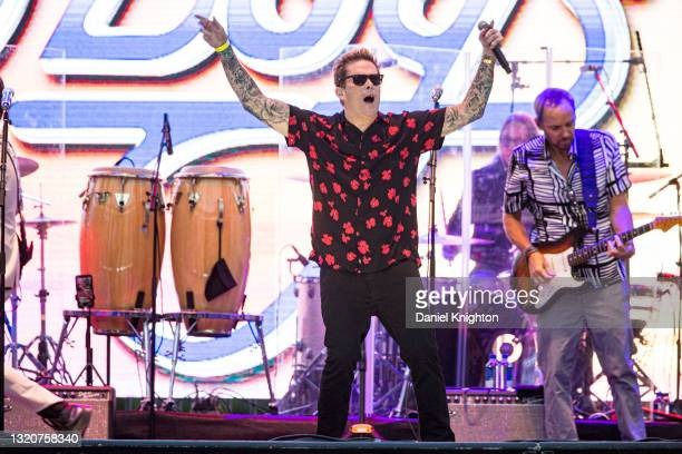 Musicians Mark McGrath and Christian Love of The Beach Boys perform on stage at PETCO Park on May 29, 2021 in San Diego, California.
