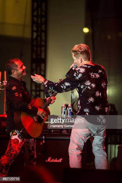 Musicians Mark McGrath and Rodney Sheppard of the group Sugar Ray perform at Queen Mary's Rock The Queen at The Queen Mary on June 3 2017 in Long...