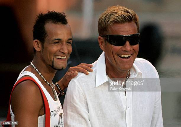 Musicians Mark Medlock and Dieter Bohlen perform during the rehearsal for the following day's live-broadcast of 'Wetten, dass..?' on June 22, 2007 in...
