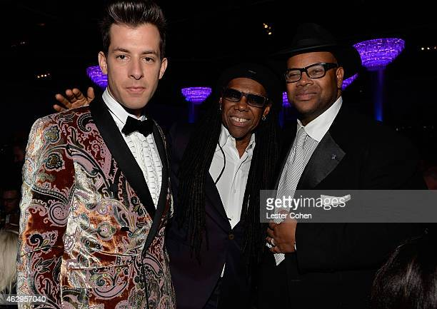 Musicians Mark Ronson, Nile Rodgers and music producer/songwriter Jimmy Jam attend the Pre-GRAMMY Gala and Salute to Industry Icons honoring Martin...