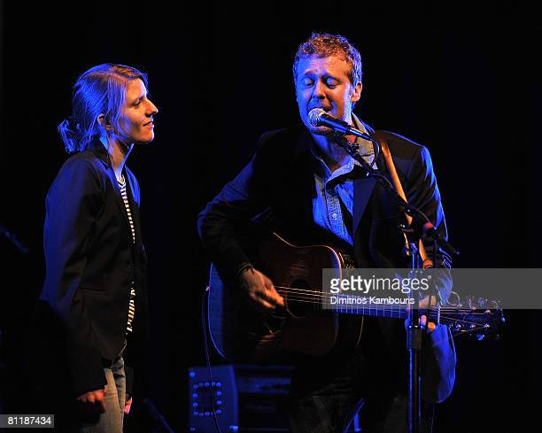 Musicians Marketa Irglova and Glen Hansard of Swell Season perform onstage during Global Green USA's 5th Annual Pre Oscar Party raising awareness...