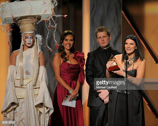 Musicians Marlene Favela, Alexander Acha and Laura Pausini speak onstage at the 10th Annual Latin GRAMMY Awards held at the Mandalay Bay Events...