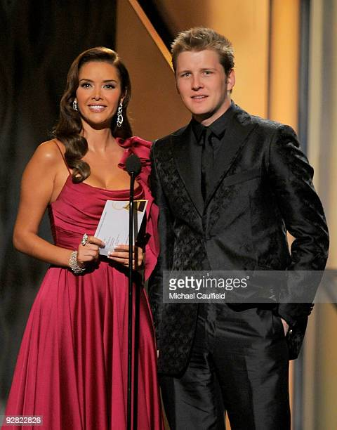 Musicians Marlene Favela and Alexander Acha speak onstage at the 10th Annual Latin GRAMMY Awards held at the Mandalay Bay Events Center on November...