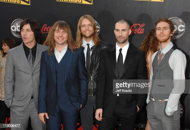 Musicians Maroon 5 arrives to the 2007 American Music Awards at the Nokia Theatre on November 18 2007 in Los Angeles California