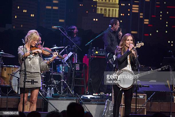 Musicians Martie Maguire and Emily Robinson of the Court Yard Hounds perform in concert during the KLRU AllStar Celebration at ACL Live on May 16...