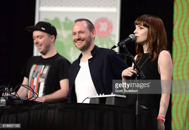 Musicians Martin Doherty Iain Cook and Lauren Mayberry of the band Chvrches perform onstage at the Austin Convention Center on March 18 2016 in...