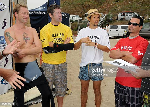 Musicians Martyn LeNoble Eric Avery Jason Mraz and Peter DiStefano attend the 4th Annual Surfrider Foundation Celebrity Expression Session at First...