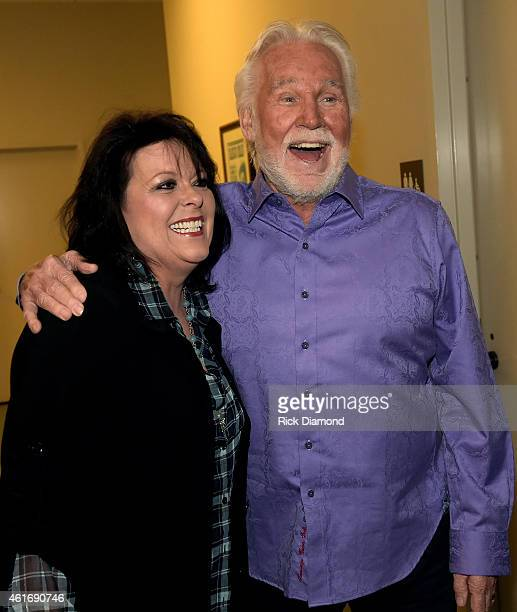 Musicians Mary Arnold Miller and Kenny Rogers attend a panel discussion with Kenny Rogers and the First Edition at the Country Music Hall Of Fame and...