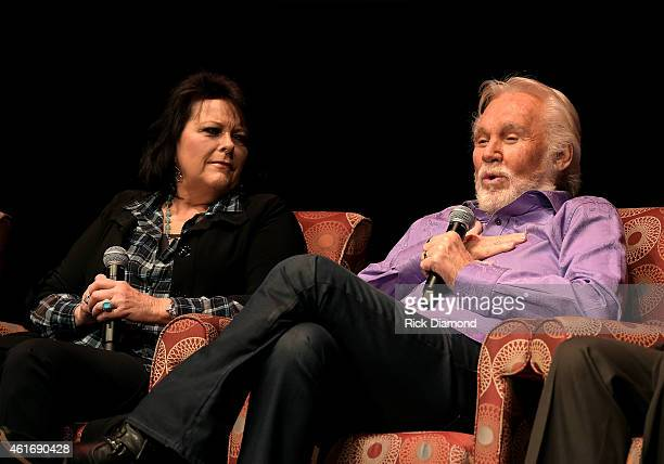 Musicians Mary Arnold Miller and Kenny Rogers speak during a panel discussion with Kenny Rogers and the First Edition at the Country Music Hall Of...