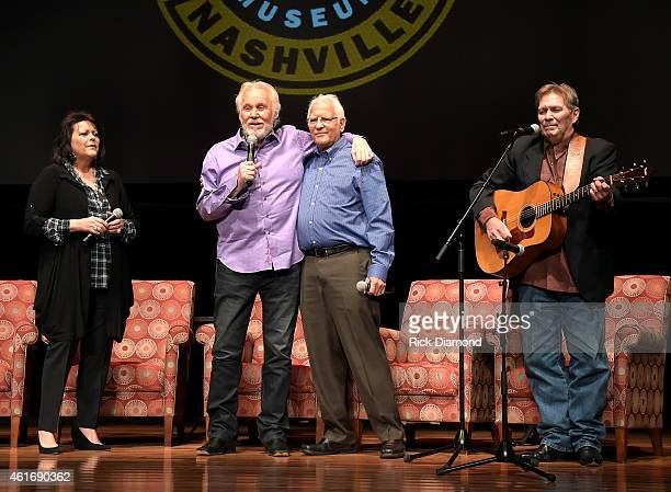 Musicians Mary Arnold Miller Kenny Rogers Mike Settle and Terry Williams speak during a panel discussion with Kenny Rogers and the First Edition at...