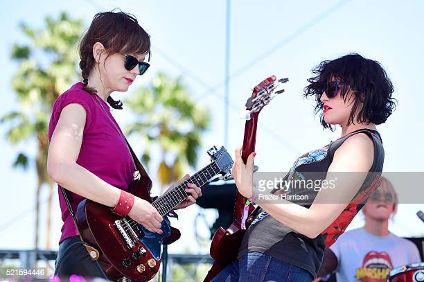 Musicians Mary Timony and Betsy Wright of Ex Hex performs onstage during day 2 of the 2016 Coachella Valley Music Arts Festival Weekend 1 at the...