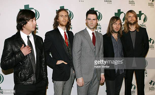 Musicians Matt Flynn Jesse Carmichael Adam Levine Mickey Madden and James Valentine of the group Maroon 5 arrive at the Global Green USA 3rd annual...