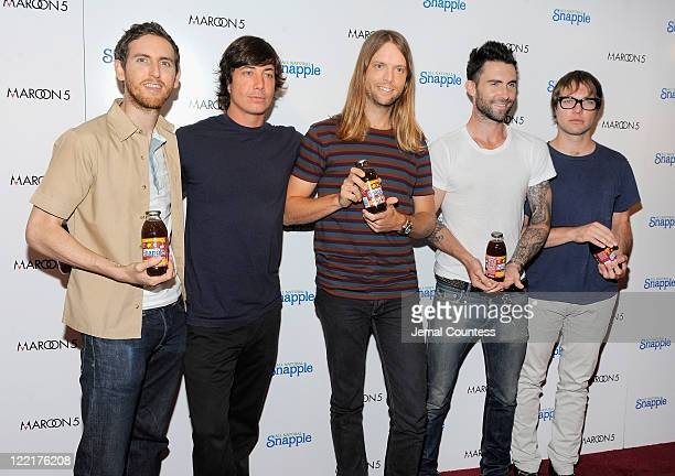 Musicians Matt Flynn Jesse Carmichael James Valentine Adam Levine and Mickey Madden of the group Maroon 5 attend the Snapple Tea Will be Loved launch...