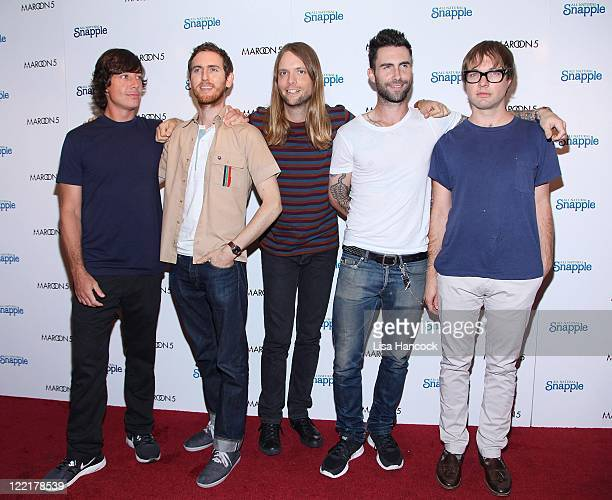 Musicians Matt Flynn Jesse Carmichael James Valentine Adam Levine and Mickey Madden of Maroon 5 attend the Snapple Tea Will be Loved launch at the...