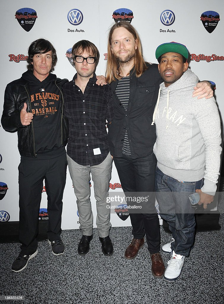 Musicians Matt Flynn, Michael Madden, James Valentine, and PJ Morton of Maroon 5 attend The Rolling Stone Volkswagen Rock & Roll Fan Tailgate Party at The Crane Bay on February 5, 2012 in Indianapolis, Indiana.