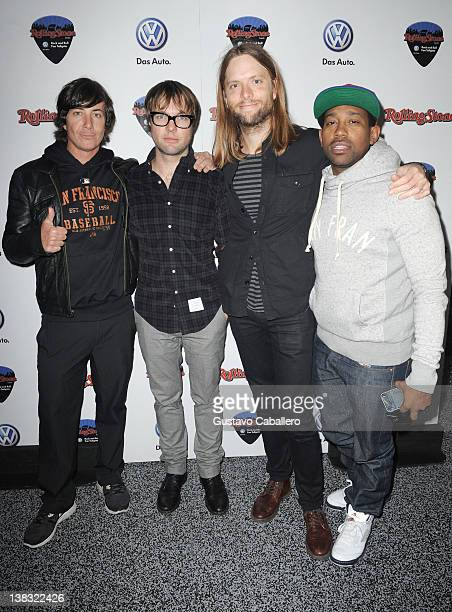 Musicians Matt Flynn Michael Madden James Valentine and PJ Morton of Maroon 5 attend The Rolling Stone Volkswagen Rock Roll Fan Tailgate Party at The...