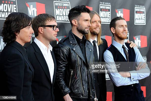 Musicians Matt Flynn Mickey Madden Adam Levine James Valentine and Jesse Carmichael from the musical group Maroon 5 arrives at the 16th annual...