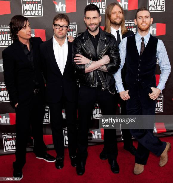 Musicians Matt Flynn Mickey Madden Adam Levine James Valentine and Jesse Carmichael from the musical group Maroon 5 arrive at the 16th Annual...