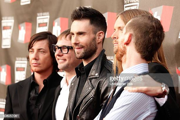 Musicians Matt Flynn Mickey Madden Adam Levine Jesse Carmichael and James Valentine from the musical group Maroon 5 arrive at the 16th annual...