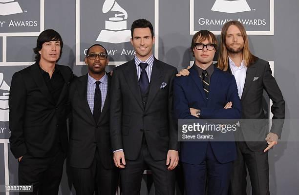 Musicians Matt Flynn PJ Morton Adam Levine Michael Madden and James Valentine of Maroon 5 arrive at The 54th Annual GRAMMY Awards at Staples Center...