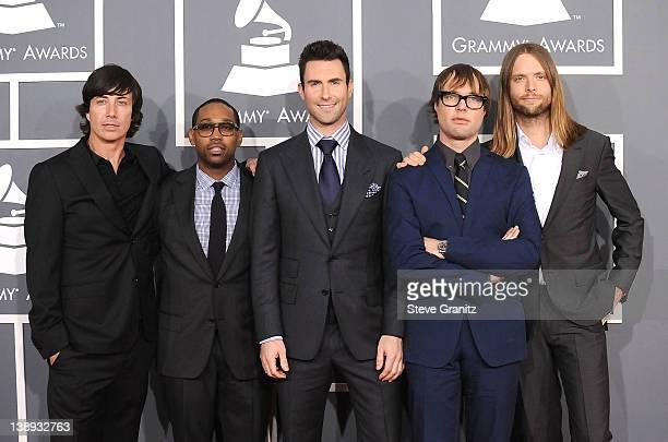 Musicians Matt Flynn PJ Morton Adam Levine Michael Madden and James Valentine of Maroon 5 arrives at The 54th Annual GRAMMY Awards at Staples Center...