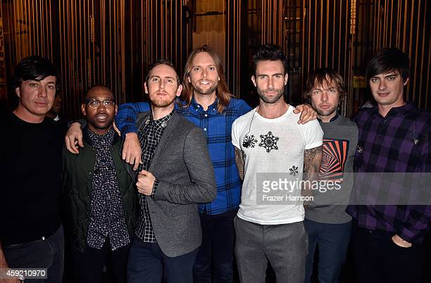 Musicians Matt Flynn PJ Morton Jesse Carmichael James Valentine Adam Levine Mickey Madden and Sam Farrar of Maroon 5 backstage during A VERY GRAMMY...